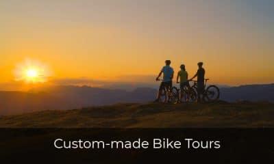 Mountain bikers watching sunset view