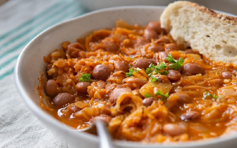 Slovenian sauerkraut and bean stew Jota