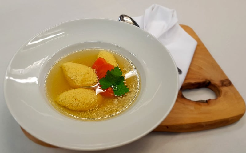 Slovenian food - corn dumplings soup